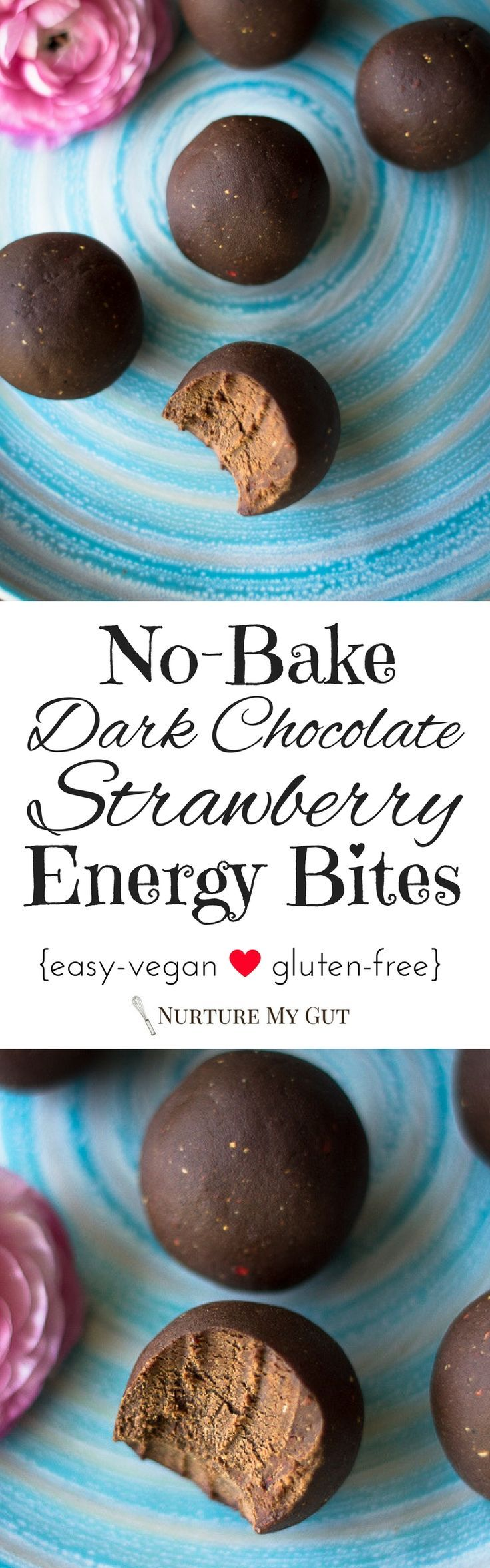 No-Bake Dark Chocolate Strawberry Energy Bites-clean eating recipe-made with delicious dark chocolate, vegan protein powder, cashew butter, freeze dried strawberries, maple syrup and fig balsamic.  Easy, healthy & delicious recipe. Perfect grab-n-go snack!