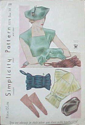 Simplicity 1578: Blouses Patterns, Patterns 1940, Fashion Patterns, Forecast Patterns, Simplicity 1578, Blouse Patterns, Accessories Patterns, Vintage Patterns, Patterns 1578