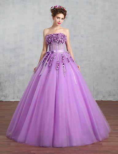 Свадебное платье-Виноградный Принцесса Без бретелек До пола Тюль 4889271 2016 – €235.19