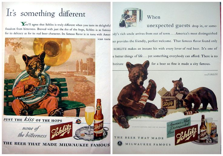 Pair of 1940's ads featuring bears for Schlitz Beer