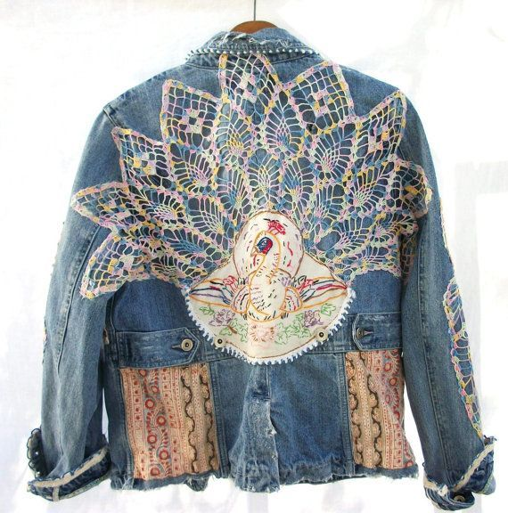 Aged Denim Jacket Vintage Crochet & by AtomicTreasureHunter, $124.00