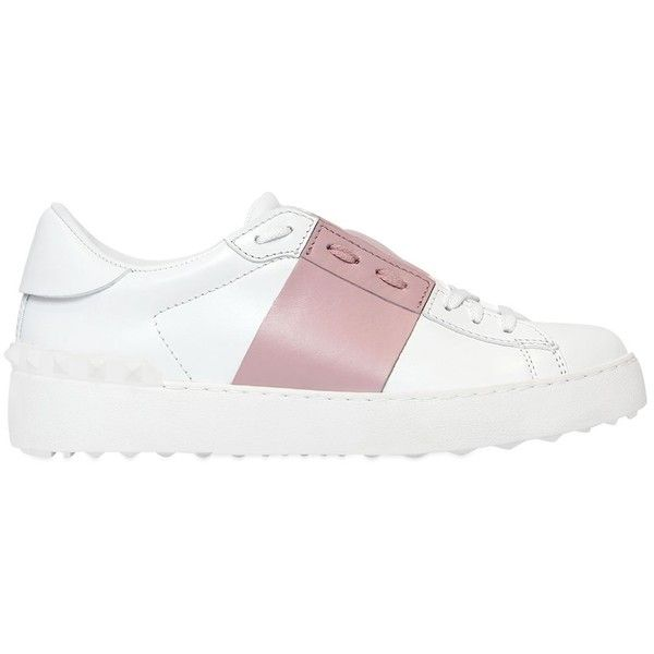 Valentino Women Open Color Block Leather Sneakers (€525) ❤ liked on Polyvore featuring shoes, sneakers, leather trainers, colorblock shoes, valentino shoes, 2 tone shoes and two tone leather shoes