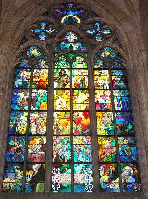 Alfonse Mucha's Stained Glass in St. Vitus's Cathedral, Prague.  Wow, the colours.