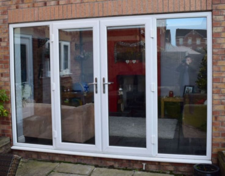 Lovely Upvc French Doors With Sidelights Part - 1: New - Made To Measure - White UPVC French Doors And Sidelights, SATIN  SILVER Handles