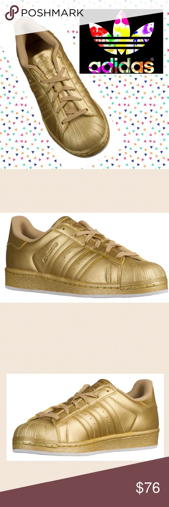 Classic leather Adidas Super Star in Gold OMG, these are awesome!! If you are a size 7, you're in luck! Gold metallic leather uppers with the classic Adidas 3 stripes. Rubber soles. Brand new, never worn. Size 7. Non-smoking home. Adidas Shoes Athletic Shoes