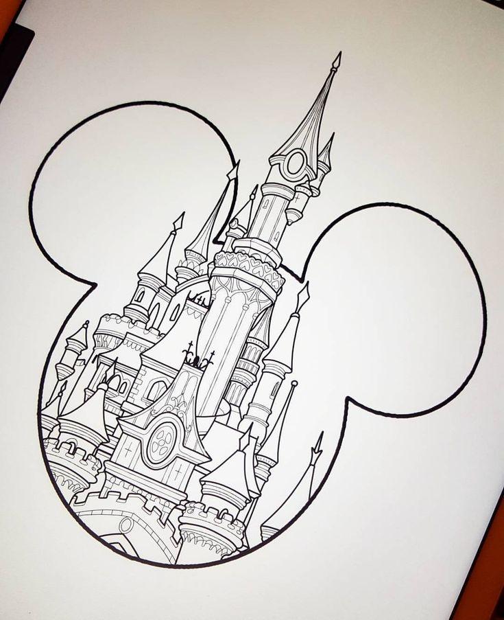 March Disney deal castle type 2 £120 To book this design email prettygrotesqueta… #tattoos #tattoo #disney #disneytattoo