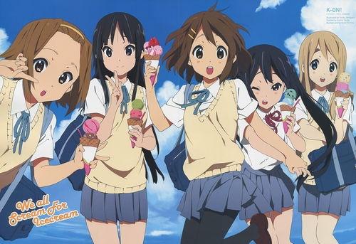 K-ON!! poster promo Hirasawa Yui , Akiyama Mio , Tainaka Ritsu , Kotobuki Tsumugi , Nakano Azusa
