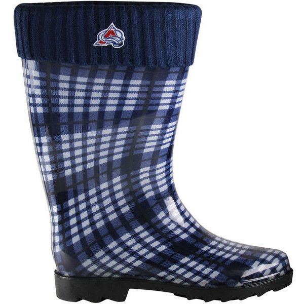 Colorado Avalanche Women's Plaid Cuffed Rain Boots - Steel Blue ($30) ❤ liked on Polyvore featuring shoes, boots, navy, wellington boots, cuff boots, plaid boots, navy shoes and plaid rain boots