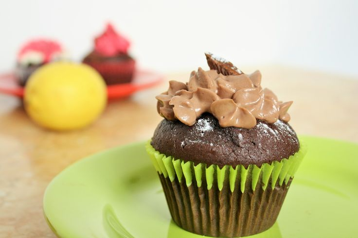 Chocolate cupcakes with chocolate filling. Yum!