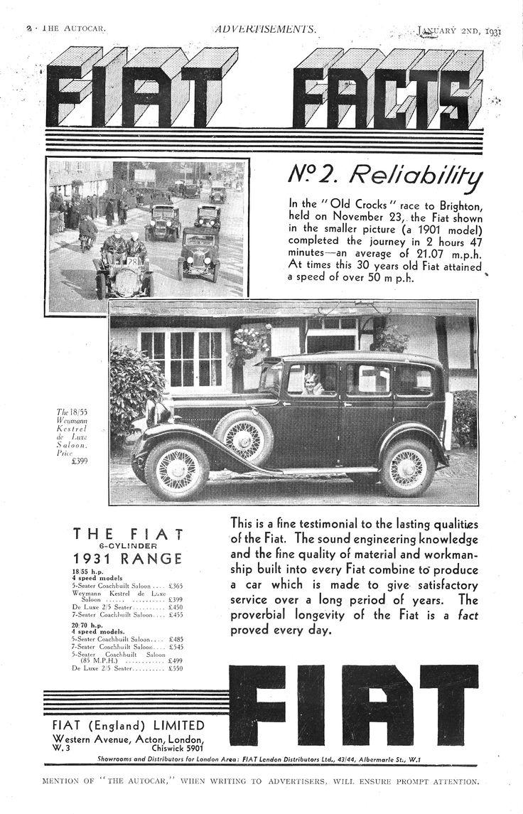 Fiat Car Advert Autocar 1931 - Fiat Facts - Reliability