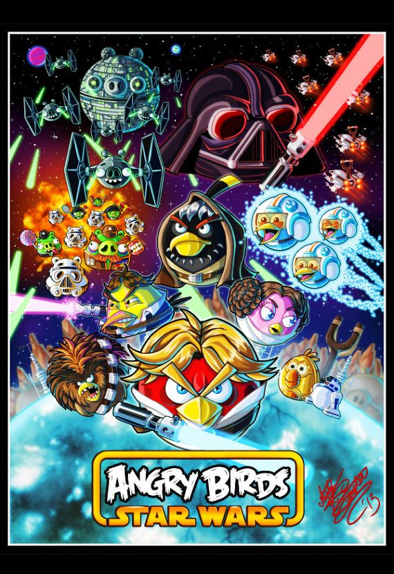 "Angry Birds Star Wars 11"" x 17"" art print on Etsy, $8.18 AUD"