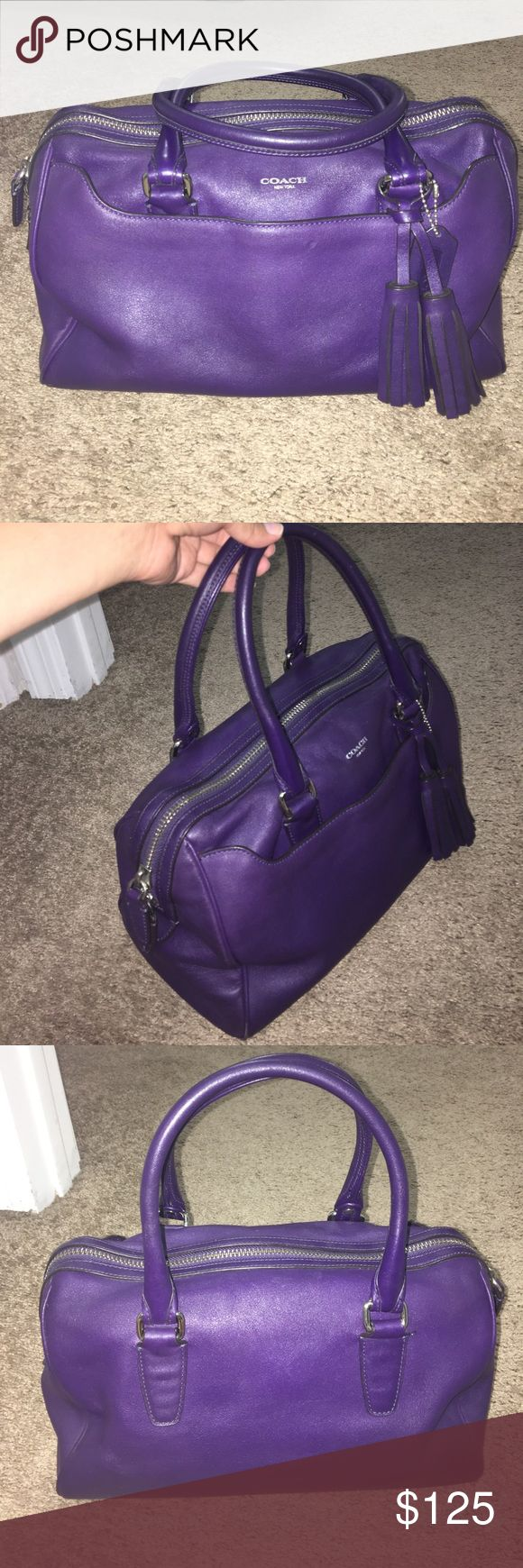Purple / Eggplant Coach Legacy Haley bag Coach bag in the Legacy Haley style. This is a rare deep purple/eggplant color. Previously used and still in a great condition. I left a pink pen open and it left marks; see last picture. Selling for almost $200 on eBay! Coach Bags Satchels