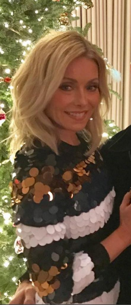 Who made  Kelly Ripa's stripe sequin sweater?