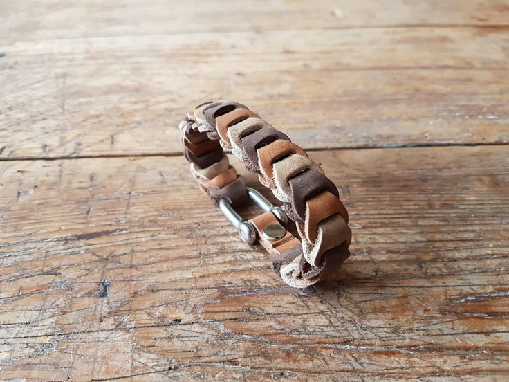 Leather bracelet - brown multi color by TheCrazySmile on Etsy