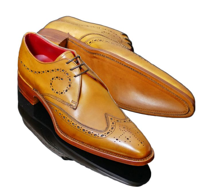 New Handmade Tan Brogue Wingtip Brogue Tuxedo Shoes, Wing tip Brogue Dress Shoes - Dress/Formal