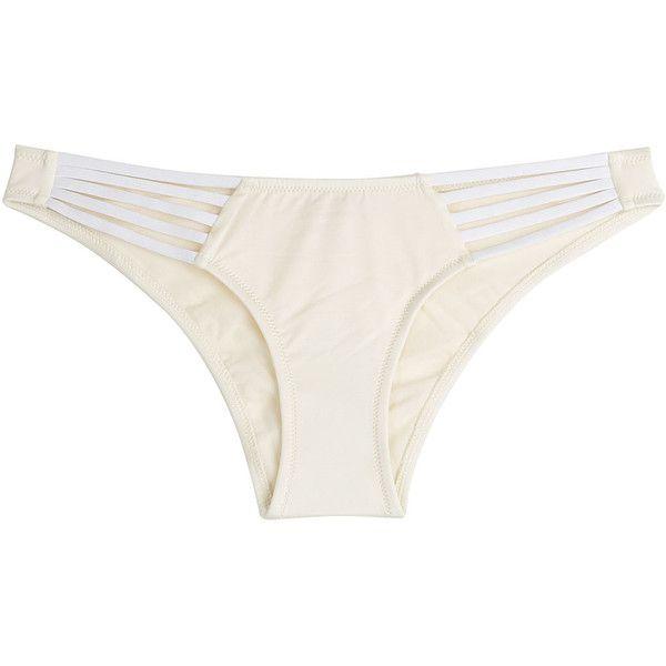 Paolita Two-Tone Bikini Bottoms (96 AUD) ❤ liked on Polyvore featuring swimwear, bikinis, bikini bottoms, white, cut out bikini, swim bikini bottoms, white bikini bottoms, beach wear and cutout bikini bottom