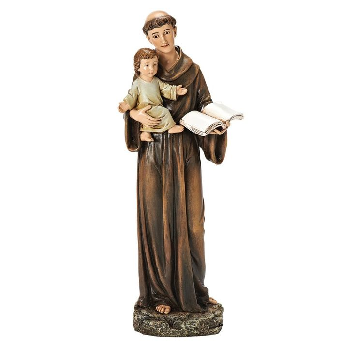 "ST ANTHONY STATUE - 10"" Resin/Stone mix.Classic replica of the Wonder Worker of God, this handsome Catholic statue features St. Anthony of Padua holding the Christ Child. He is best known as the patron saint of lost things!"