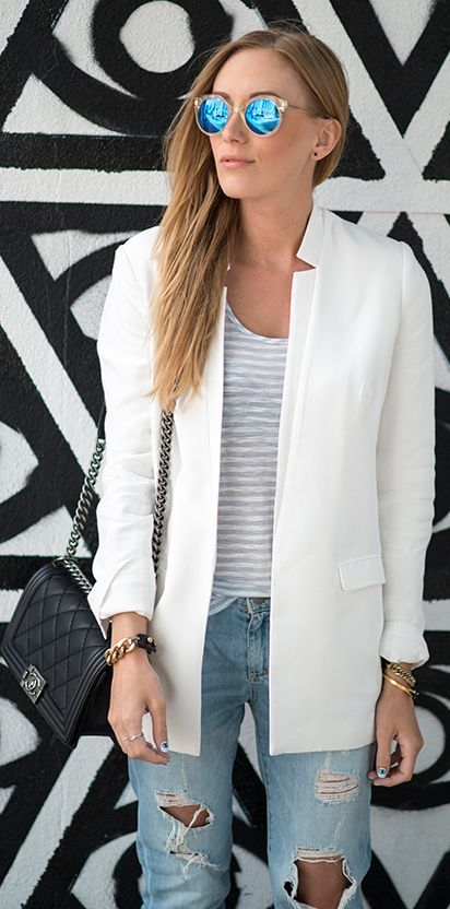 J Brand Blue And White Striped Loose Fit Tank by Eat.Sleep.Wear.