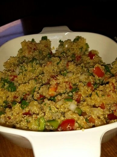 Quinoa tabouli  for people who can't have wheat barley. ...gluten free.....