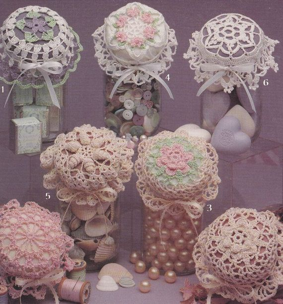 Jar Lid Covers Crochet Patterns  Lovely Lace in by PaperButtercup, $5.00