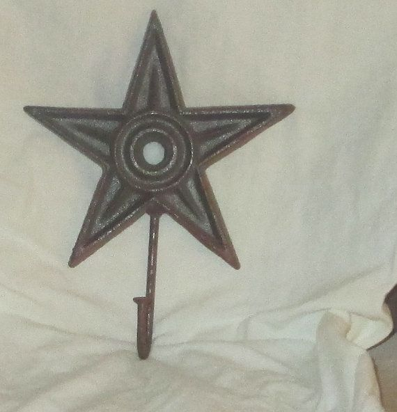Star Wall Hook Rusty Brown Cast Iron Rustic, Primitive Cabin Decor Kitchen,  Bath,