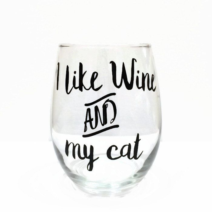 cat wine glass, funny cat wine glass, cute cat wine glass, I like wine and my cat stemless wine glass, cat lover gift, stemless wine glass by BarksandBowsLLC on Etsy
