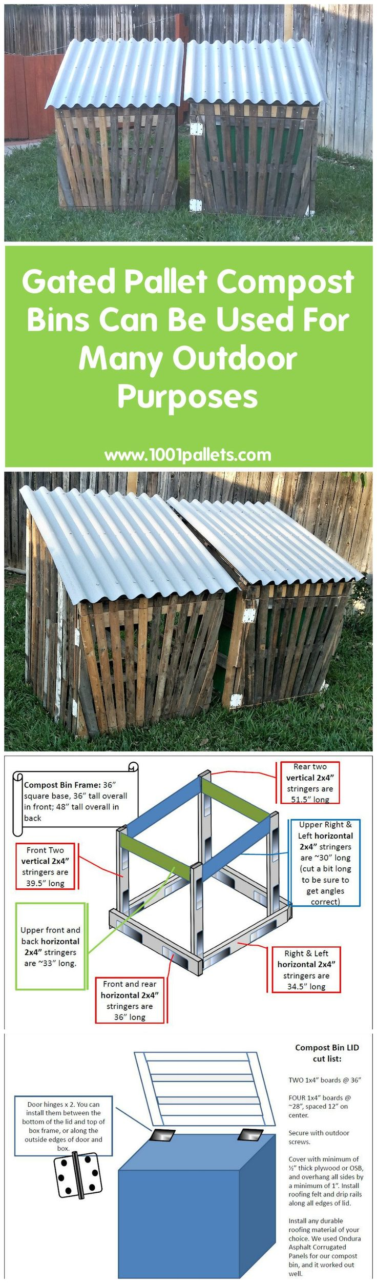 i made two gated pallet compost bins i added the front gates so it would