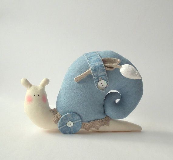 Snail Toy, denim plush toy Snail. Softie in modern style. Denim light  blue fabric. Toy for a denim lovers and  home decor. on Etsy, € 18,41