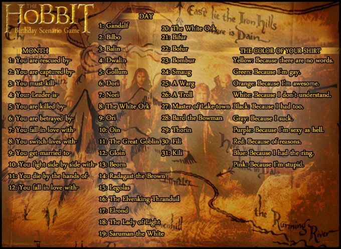 I was rescued by the Elven king Thranduil, because I had the ring.