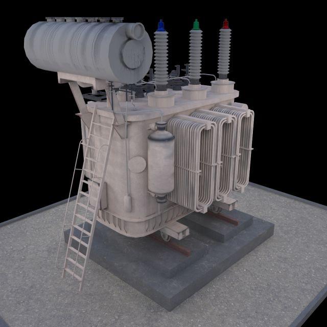 Electrical transformer type 2 3D Model .max .c4d .obj .3ds .fbx .lwo .stl @3DExport.com by point09