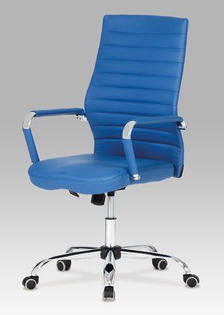 KA-Z615 BLUE Kancelářská židle, koženka modrá, chrom, houpací mechanismus, nosnost 110 kg.