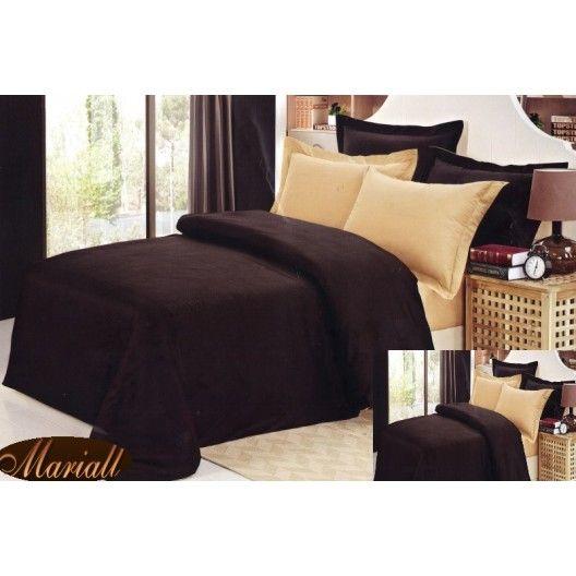 Obliečky na manželskú posteľ hnedej farby bavlnený satén