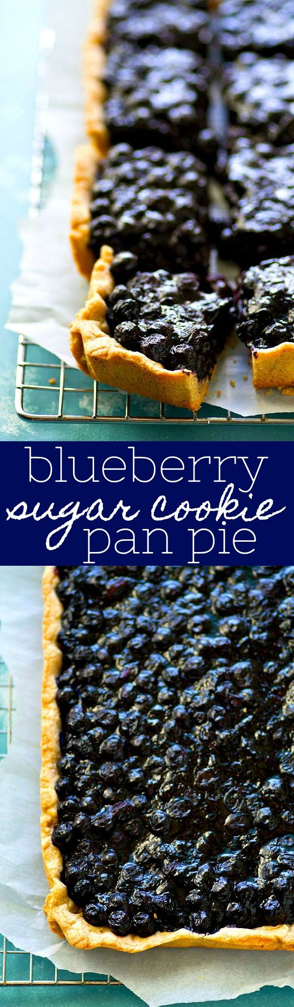 Classic blueberry pie gets a makeover into EASY pan pie form with the most amazing soft sugar cookie crust and sweet blueberry filling.--- the easiest way to make pie this summer!