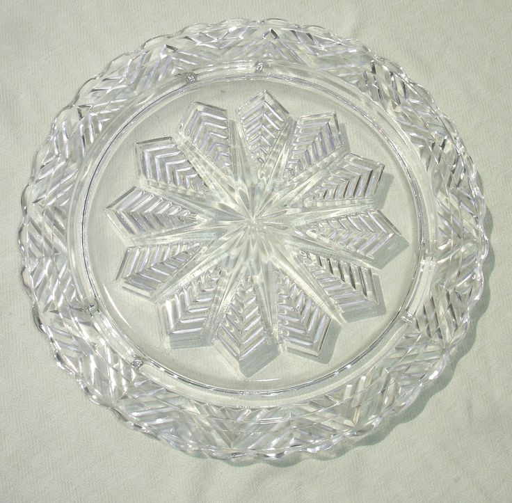 Vintage Glass Starburst Star Clear Glass Footed Cake Plate Stand