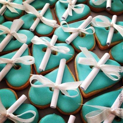 """Печенье с пожеланиями """"Завтрак у Тиффани"""" - бирюзовый,печенье,пряник,cookie-boutique"""