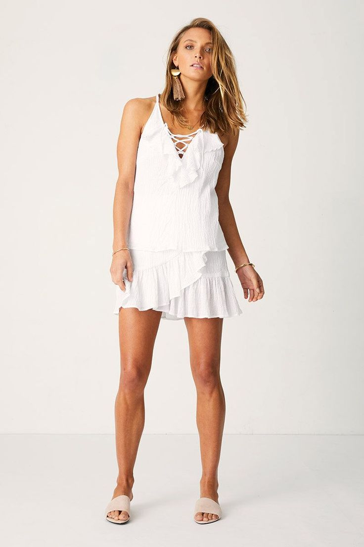 Suboo - Take It Slow Swing Frill Cami - White