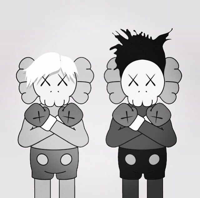 Andy Warhol and Jean Michel Basquiat, KAWS style. #warhol #basquiat #kaws