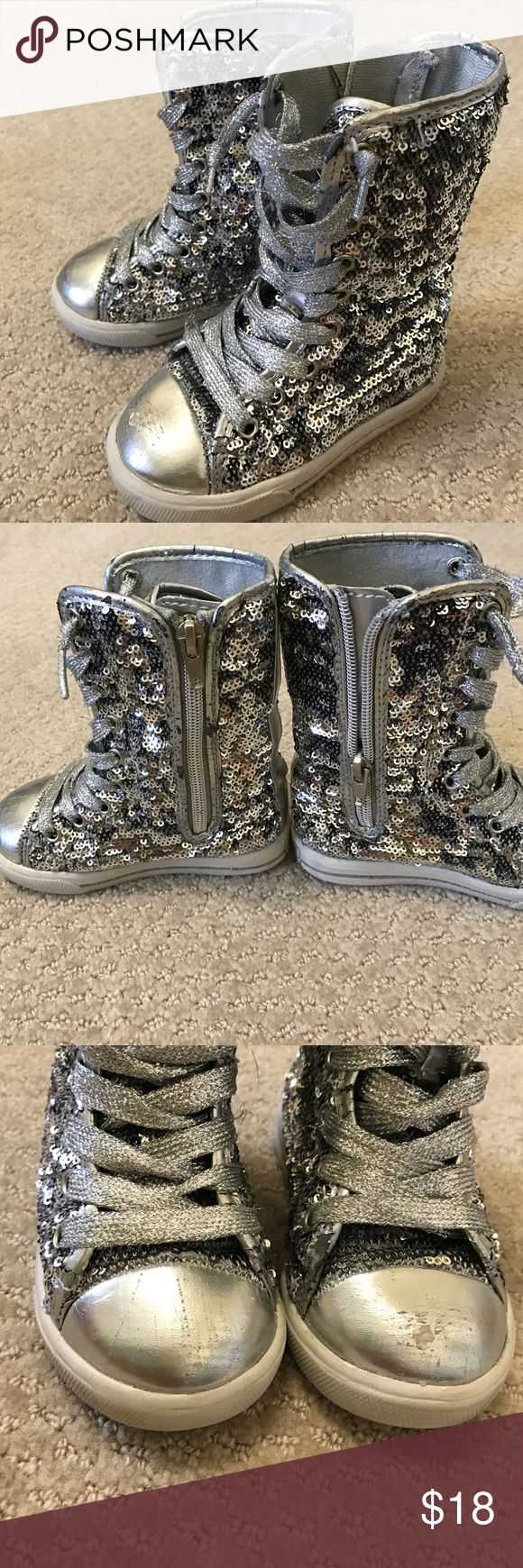 Glittery Toddler High-Top Boots Very cute toddler sequin high top boots. Side zipper for easy on and off. Scuff marks on the front (please refer to pictures). Your princess will look fabulous in these!! *no trades, no holds, no modeling*. Shoes