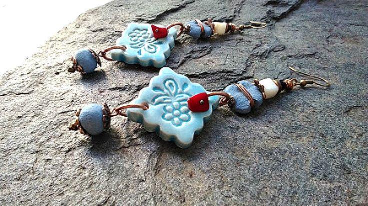 Boucles d'oreilles Boho, bijoux Ethnique, Boucles d'oreilles Tribal Bleu Turquoise, Bijoux Artisanal Rustique , Boucles d'oreilles Bohémien by itssomimi2 on Etsy