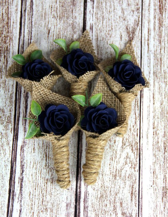 Navy Blue Boutonniere by Rusticblend on Etsy