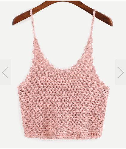 crochet top simple pink