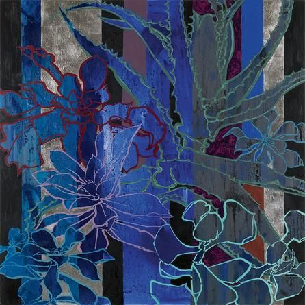 "Robert Kushner: baroque - Exhibitions - DC Moore Gallery. Blue Succulents 2014. oil, acrylic, palladium leaf on canvas 72"" x 72""."