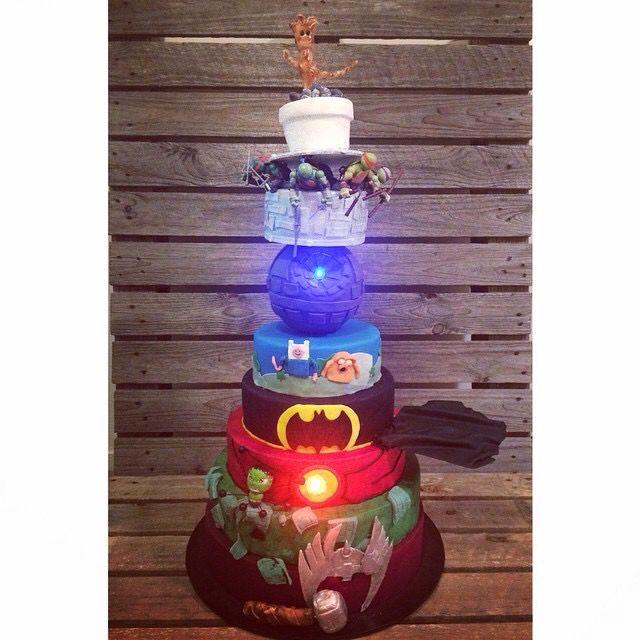 Superhero cartoon cake.  Ninja turtles Baby groot Star Wars Adventure time Batman Ironman Hulk Thor