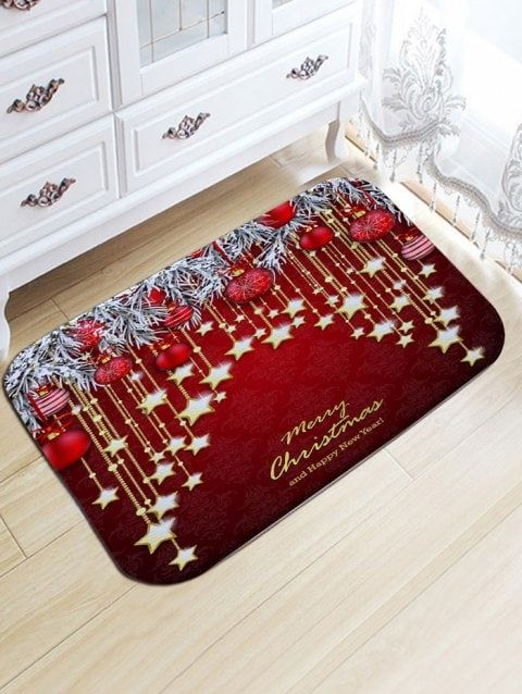 Christmas Hanging Ball Star Print Flannel Nonslip Bath Mat Kitchen