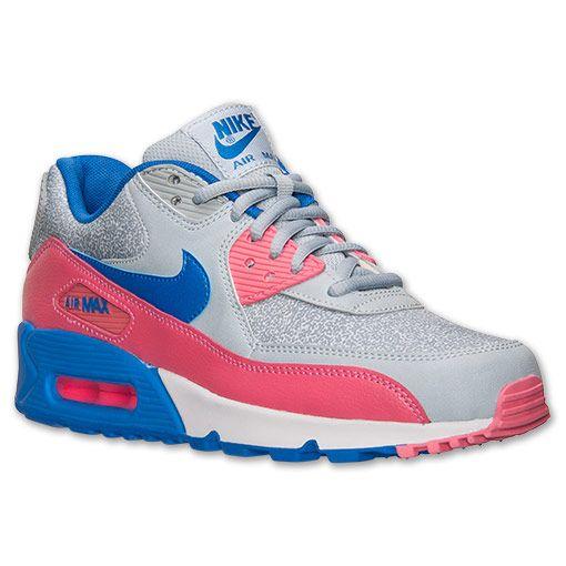 Women's Nike Air Max 90 Running Shoes| Finish Line | Light Magnet/Hyper Cobalt/Hyper Pink