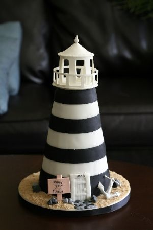 Lighthouse #wedding #cake for your navy wedding theme.