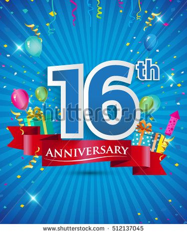 Celebrating 16 years Anniversary logo, with confetti and balloons, red ribbon, Colorful Vector design template elements for your invitation card, flyer, banner and poster.