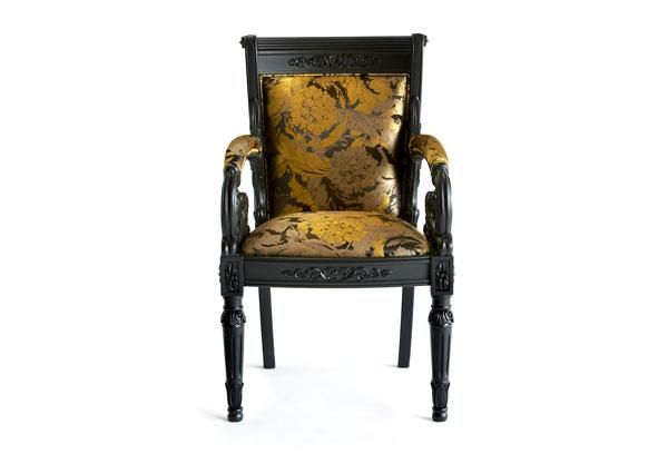 Handcarved beech wood frame, laquered finish, upholstered with jacquard or other fabric or leather from the collection. Versace Home fabric patchwork combination. Size: cm 38x37xh63