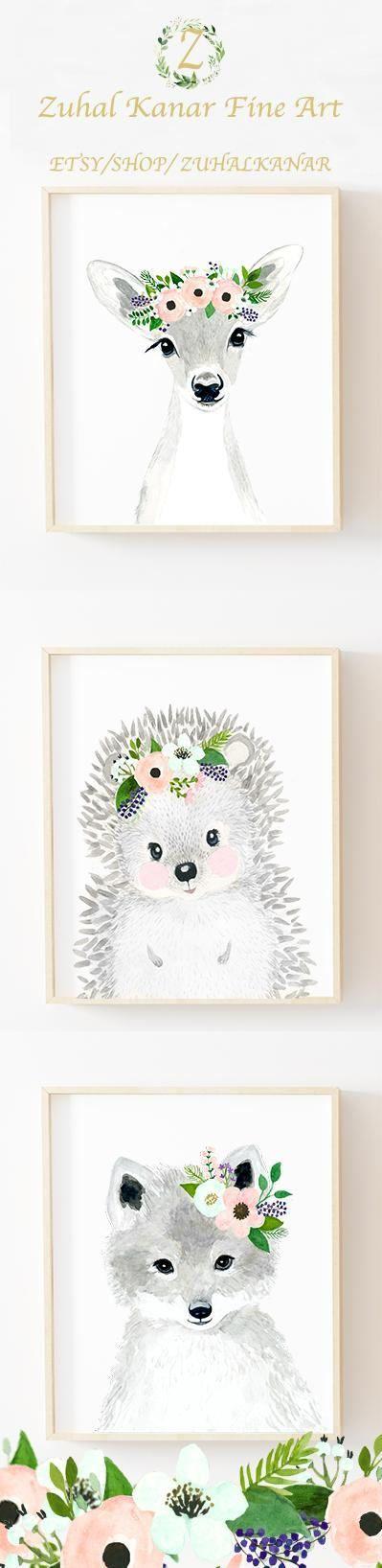 Woodland nursery set petal pink nursery hedgehog deer fox
