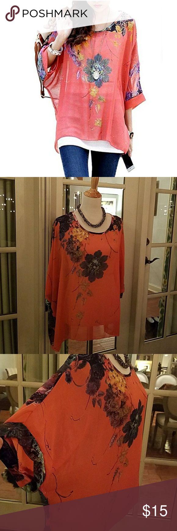 Batwing dolman sleeve chiffon floral top Watermelon colored batwing, dolman sleeve flowy floral top. NWOT imixbox Tops